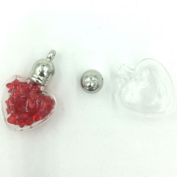 2 x 20mm glass heart for holding beads, crystal or glitter - earrings, pendants or charms with end caps